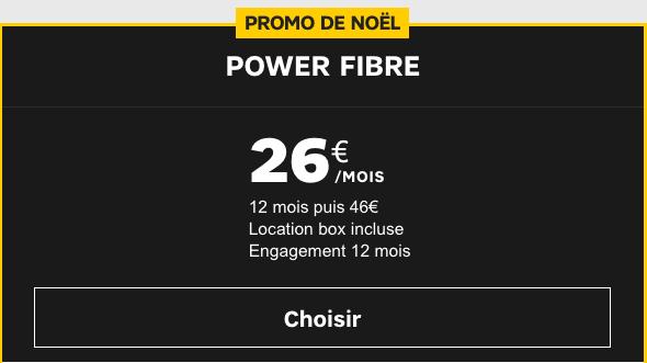 Offre Power Fibre promo de Noël SFR.