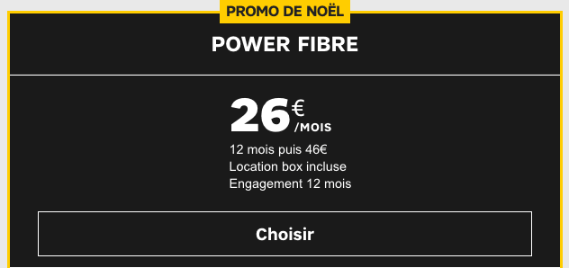 Promotion forfait box internet SFR Power Fibre.