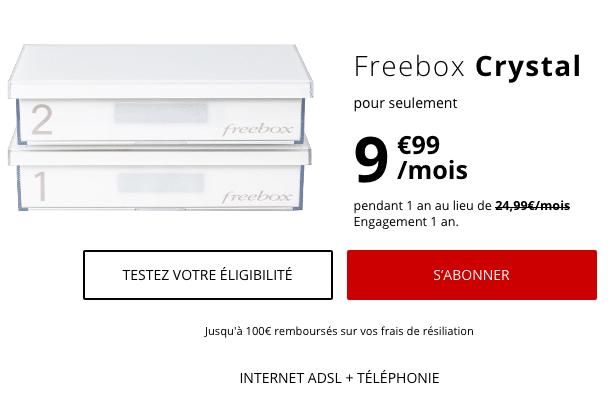 Box internet pas chère en ADSL : la Freebox Crystal de Free.