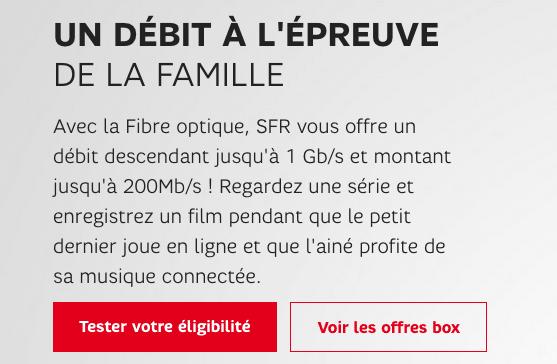 Promotion SFR box internet fibre optique.