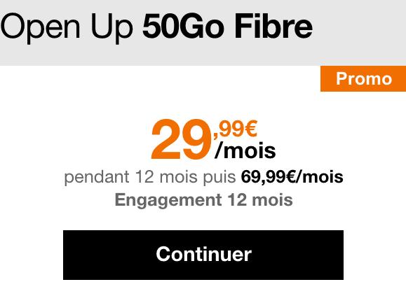480€de remise sur l'offre Open d'Orange, avec box internet fibre et forfait 50 Go en 4G.