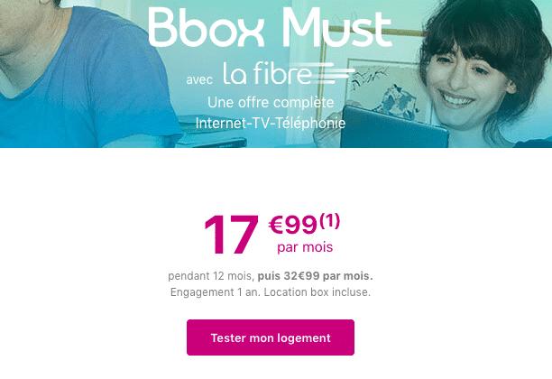 Bbox Must promotion box internet fibre optique.