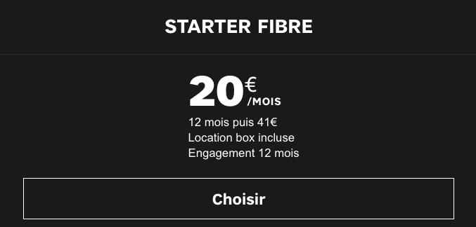 Box internet SFR Starter Fibre en promotion.