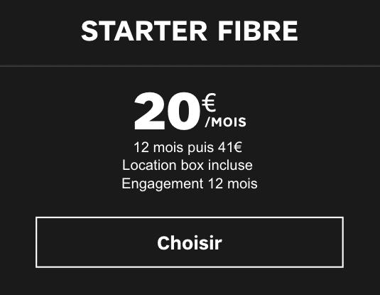 Box internet Starter Fibre en promotion chez SFR.
