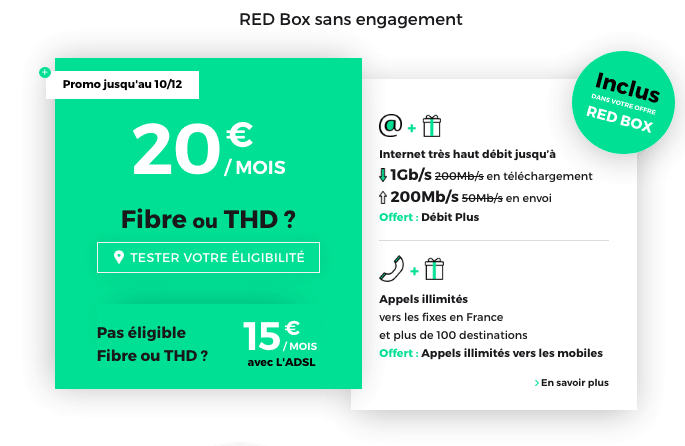 La RED Box Fibre optique en promotion chez RED by SFR.