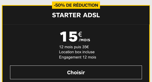 La box internet ADSL Starter de SFR est à -50%.