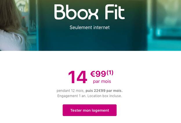 Promotion box internet adsl bbox fit.