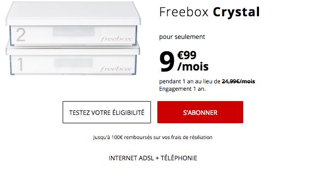 La Freebox Crystal, box internet ADSL de Free, est en promotion.