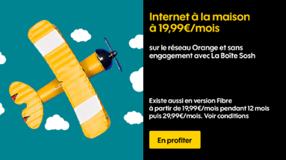 Promotion box internet Sosh sans engagement avec fibre optique ou ADSL.