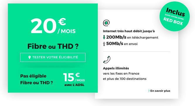 Fibre optique pas chère et sans engagement chez RED by SFR.