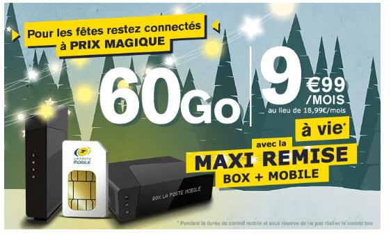 Promotion forfait mobile La Poste Mobile avec box internet.
