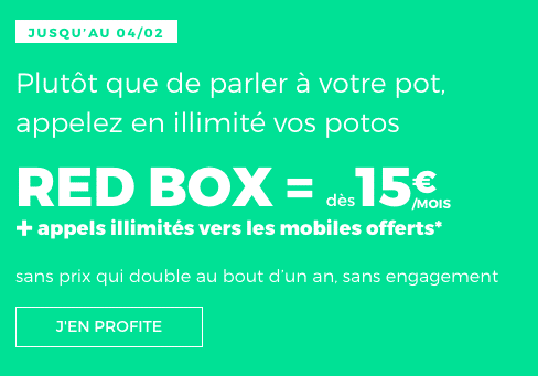 La box internet sans engagement de RED by SFR bénéficie d'une option incluse pour les soldes.