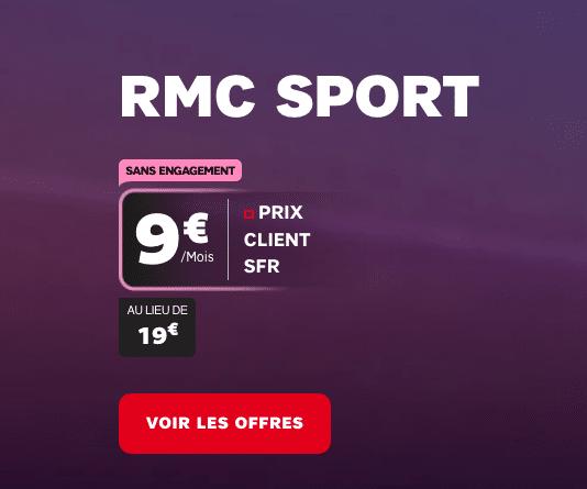 Petit prix sur RMC Sport en promo avec une box internet SFR durant les soldes.