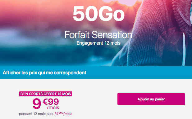Forfait Sensation 50 Go promotion forfait mobile 4G Bouygues Telecom.