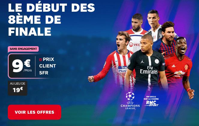Ligue des Champions avec RMC Sport à bas prix grâce à une box internet SFR.