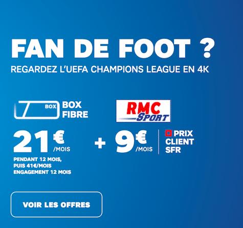 RMC Sport à bas prix avec une box internet de SFR.