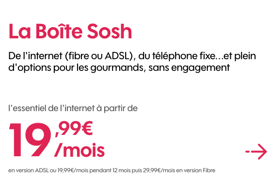 promo sur les box internet sans engagement de sosh et red by sfr