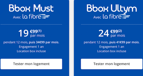 Les Bbox Must et Ultym, box internet de Bouygues Telecom, avec la Fibre.