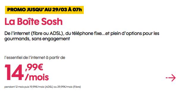 Box internet fibre optique en promotion chez Sosh.