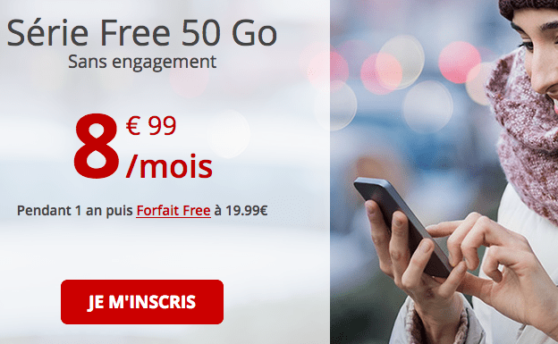 Promotion forfait 4G Free mobile.