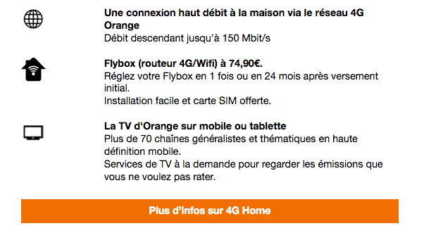 4G Home solution de box 4G chez Orange.