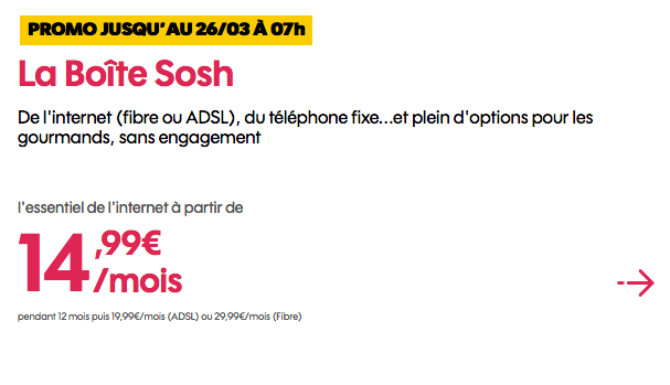 Box internet fibre optique sans engagement en promo chez Sosh.