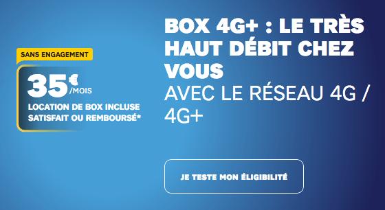 Box 4G+ de SFR pour profiter du très haut débit fixe via le réseau mobile.