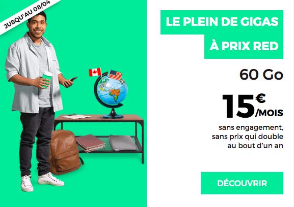le forfait RED by SFR à 15€