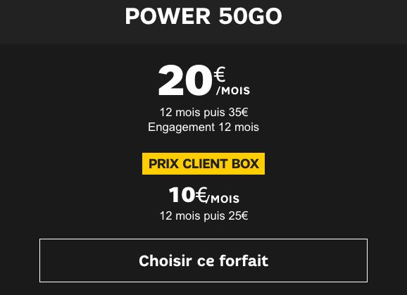 Forfait 4G en promo avec 50 Go de data.