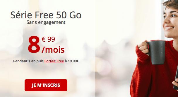 Free forfait 4G avec 50 Go de data.