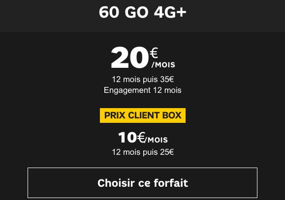 Promo forfait 4G pas cher SFR.