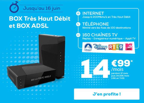 La Poste Mobile promotion box internet fibre optique ou ADSL.