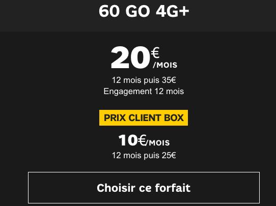SFR promotion forfait 60 Go 4G+.