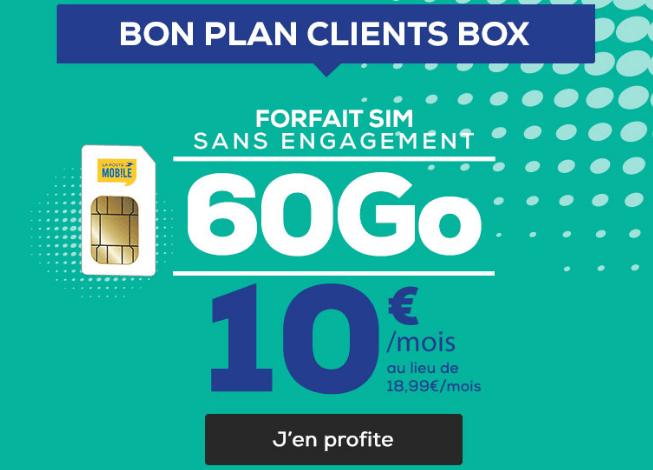 La Poste Mobile forfait 60 Go 4G pas cher.