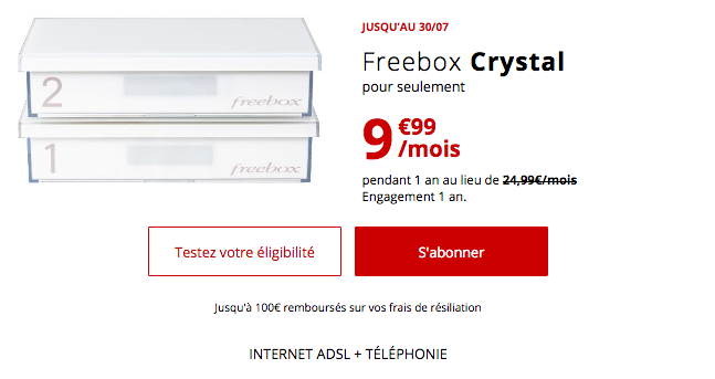 La freebox Crystal est en promo chez Free.
