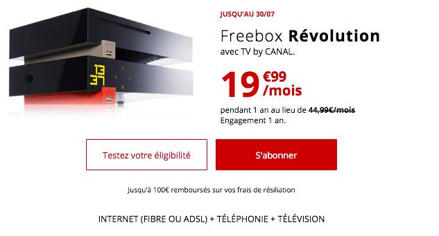 Freebox Révolution, box adsl ou fibre optique est en promo.