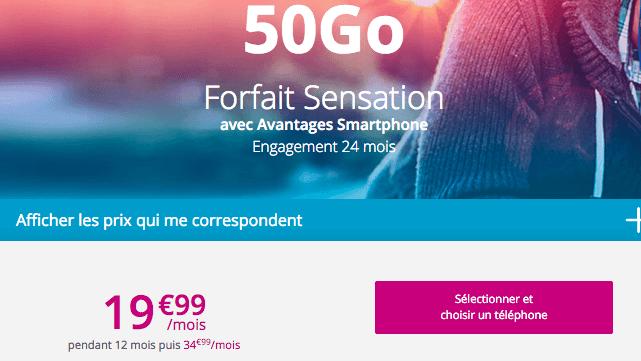Sensation 50 Go promo Bouygues Telecom.