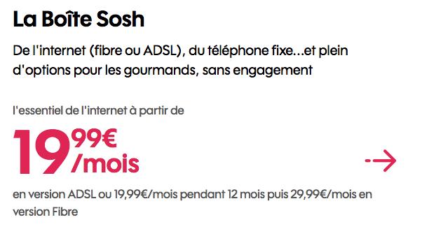 Promo Sosh box interent dual play.