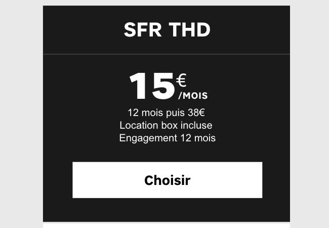 La box SFR fibre à 15€.