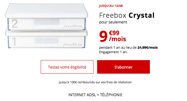 Box internet ADSL Freebox Crystal en promotion.