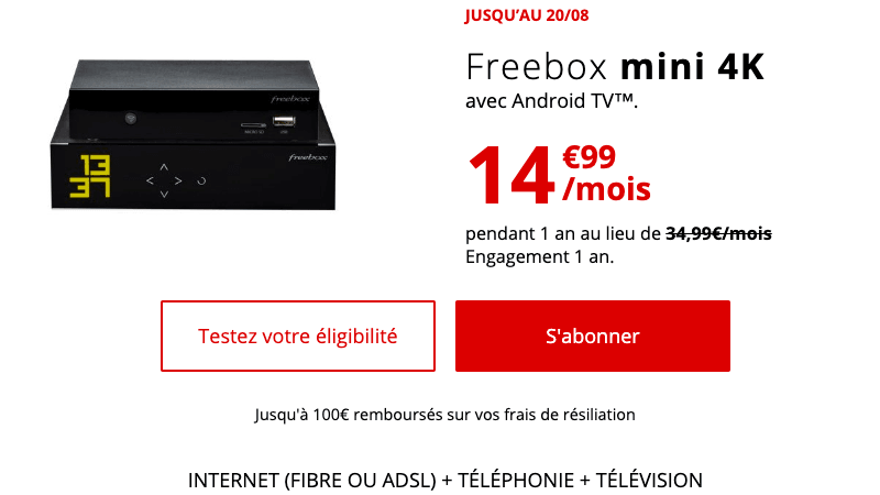 La Freebox Mini 4K, box fibre de Free.
