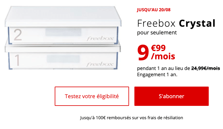 La Freebox Crystal à 9,99€.