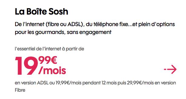 Promo La Boîte Sosh.