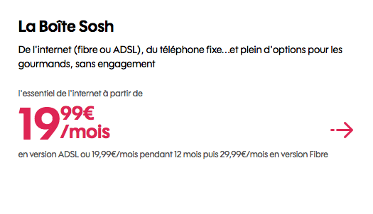 Fibre optique en promotion chez Sosh.