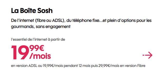 La Boîte Sosh promotion box fibre optique.
