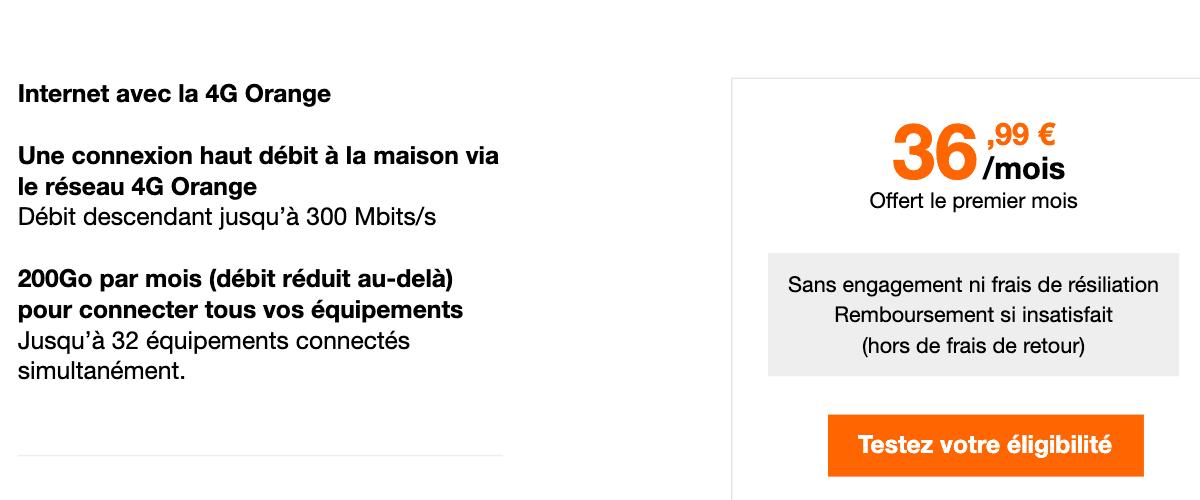 La proposition d'Orange concernant la box 4G