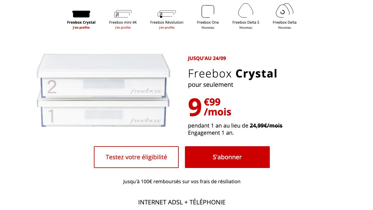 Freebox Crystal promo Free.