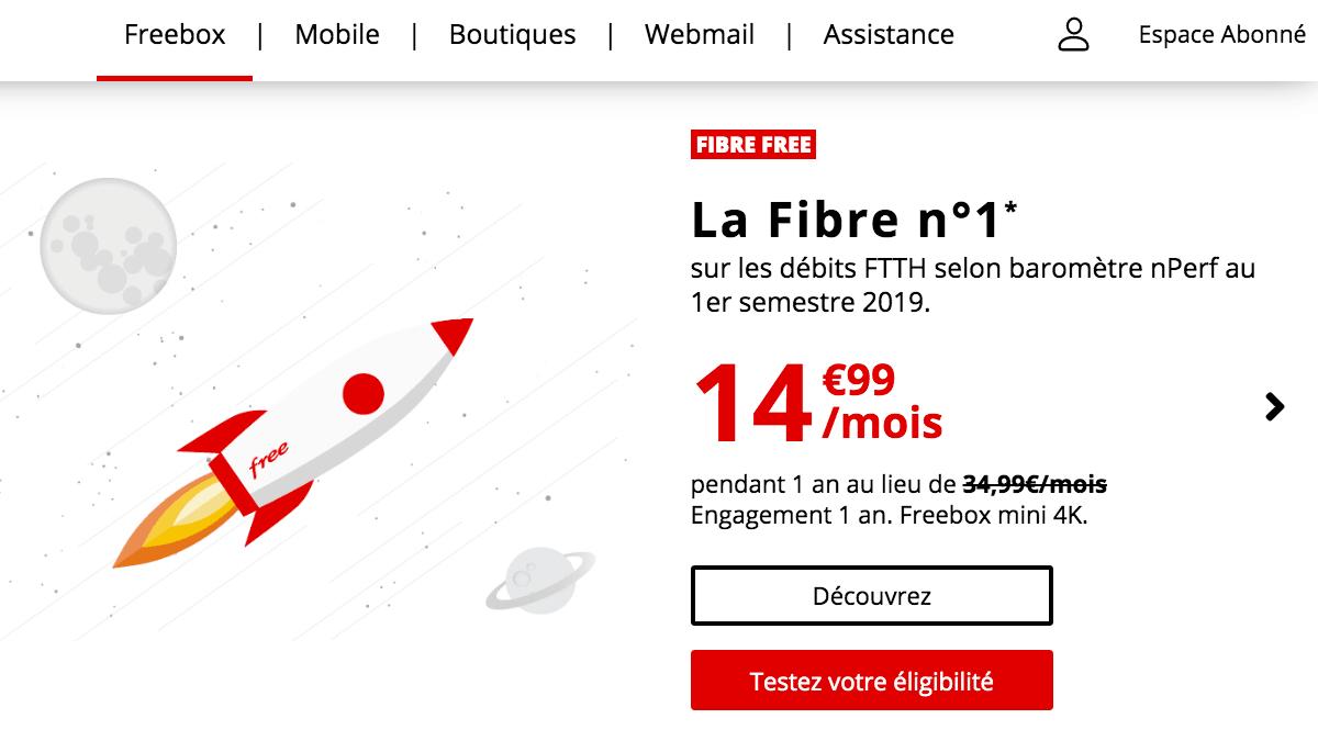 la fibre optique de Free.