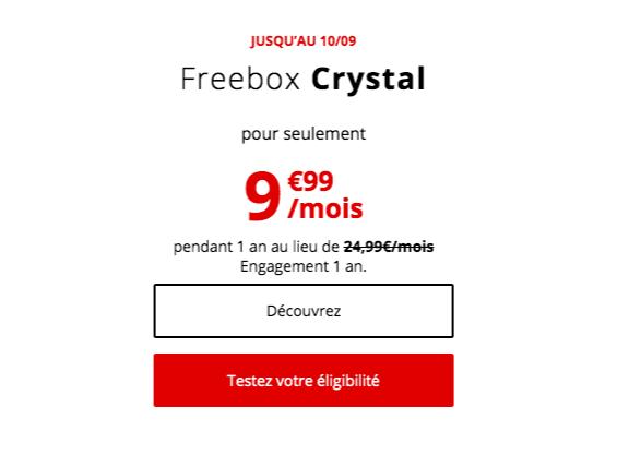 la freebox ADSL Crystal à 9,99€