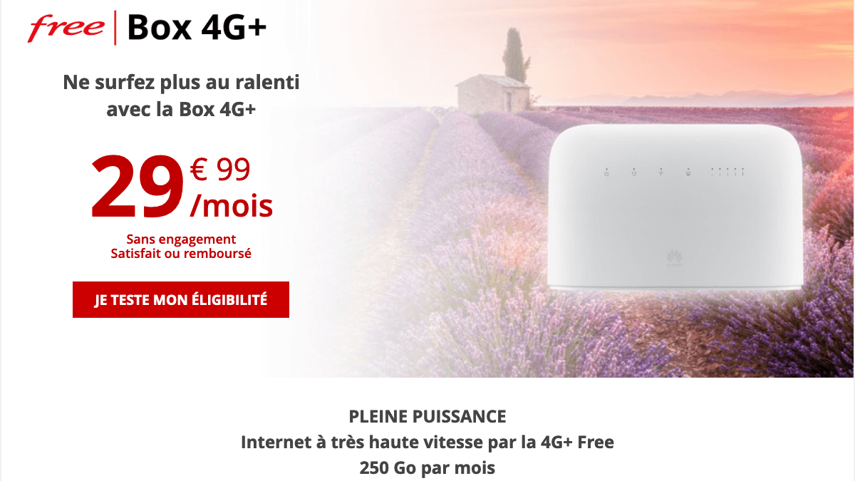 Promotion box 4G+ chez Free.